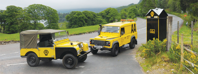 Current AA 90 and original Series I by Box 504 in Ardgay on the A591 Bonar Bridge to Tarlogie