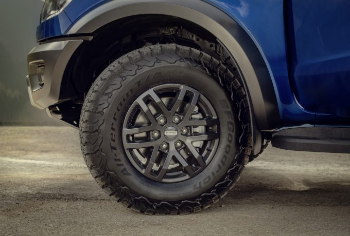 Ranger Raptor comes with 17-inch alloy wheels and all-terrain BF Goodrich tyres